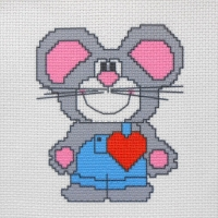 СК1-10 Влюбленная мышка. Канва с нанесенным рисунком