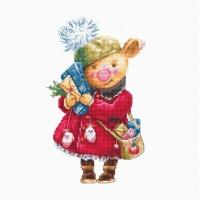 B1153 Рождественская свинка. Набор для вышивки крестом