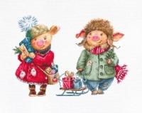 B1161 Рождественские свинки. Набор для вышивки крестом