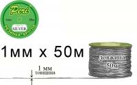 РШм(1)-silver Резинка круглая (шляпная) Peri 1 мм, 1 бобина