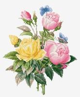 BU4003 Желтые розы и бенгальские розы. Набор для вышивки крестом