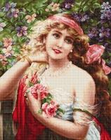 B549 Девушка с розами. Набор для вышивки крестом
