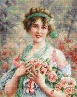 B553 Девушка с розами. Набор для вышивки крестом