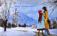 Набір д/вишивання 5D Годинник Зимова зустріч 45*37