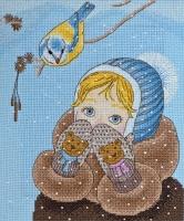AH-020 Девочка и синичка. Набор для вышивки крестом