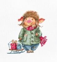 B1160 Рождественская свинка. Набор для вышивки крестом