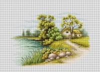 B2283 Пейзаж с озером. Набор для вышивки крестом