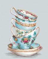 BA2325 Бирюзовые чайные чашки. Набор для вышивки крестом