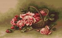B483 Корзина с розами. Набор для вышивки крестом