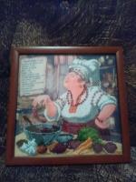 """ГР-004 Картина вышитая бисером """"Меню украинского борща"""""""