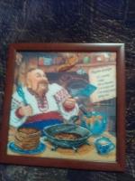 """ГР-005 Картина вышитая бисером """"Меню украинских блинов"""""""
