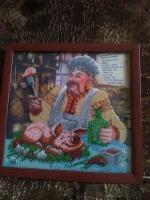 """ГР-006 Картина вышитая бисером """"Рецепт приготовления поросёнка"""""""
