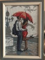 "Картина ""Двое под зонтом"", бисер"