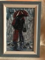 """Картина """"Влюбленные под зонтом"""", бисер"""