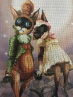 "Картина ""Кошки на крыше"", вышивка крестом"