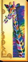 AB-438 Радужный жираф. Набор для вышивки бисером, холст