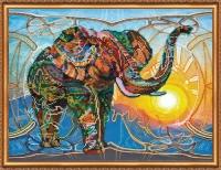 AB-368 Мозаичный слон. Набор для вышивки бисером, холст